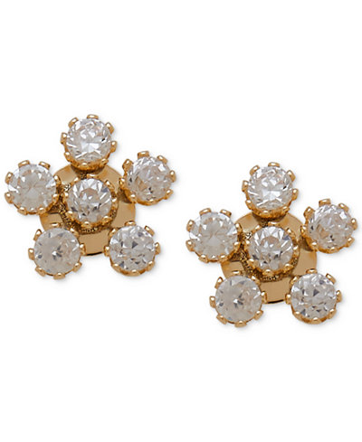 Children's Cubic Zirconia Flower Stud Earrings in 14k Gold