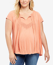 Motherhood Maternity Plus Size Lace-Trim Top