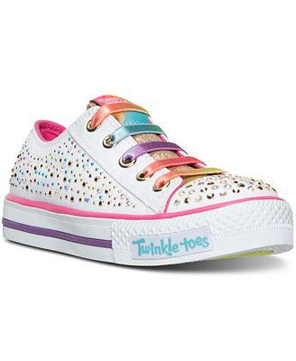 Skechers Little Girls' Twinkle Toes: Shuffles - Glitter Ombre Light-Up Casual Sneakers from Finish L...