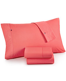 CLOSEOUT! Tommy Hilfiger Solid Core Twin Sheet Set