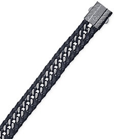 Esquire Men's Jewelry Black Leather Curb-Style Bracelet in Gunmetal IP over Stainless Steel, Created for Macy's