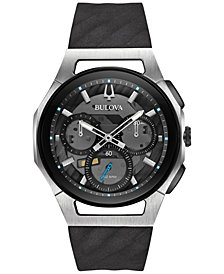 Bulova Men's Chronograph Curv Black Rubber Strap Watch 44mm 98A161