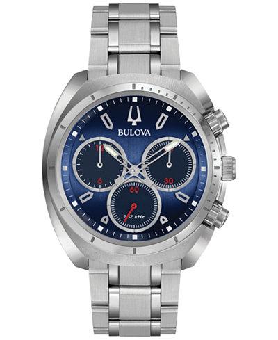 Bulova Men's Chronograph CURV Stainless Steel Bracelet Watch 43mm 96A185