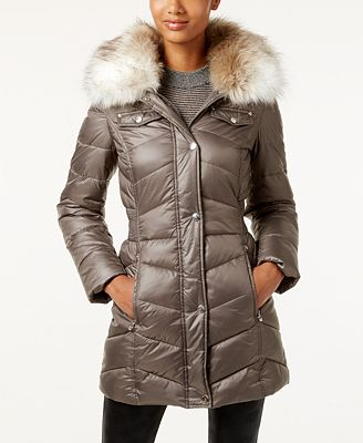 Laundry by Design Petite Faux-Fur-Trim Puffer Coat - Coats - Women