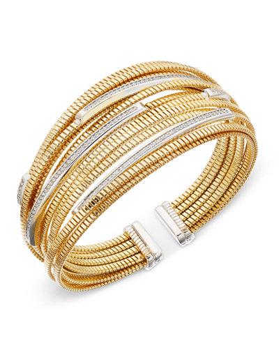 Diamond Cuff Bracelet (1/2 ct. t.w.) in 14k Gold-Plated Sterling Silver