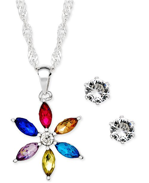 Charter Club Silver-Tone Crystal Daisy Pendant Necklace and Stud Earrings Set, Created for Macy's