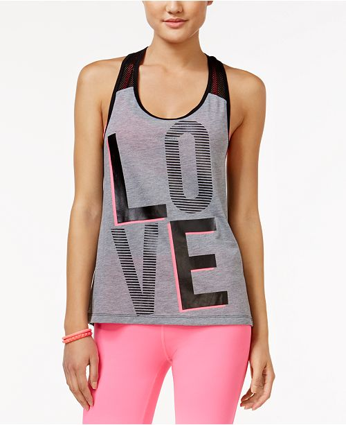 Material Girl Active Mesh-Back Graphic Tank Top, Created for Macy's