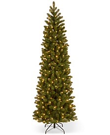"7.5' ""Feel Real"" Down Swept Douglas Fir Pencil Slim Hinged Christmas Tree with 350 Clear Lights"