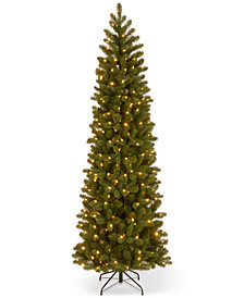 "National Tree Company 7.5' ""Feel Real"" Down Swept Douglas Fir Pencil Slim Hinged Christmas Tree with 350 Clear Lights"