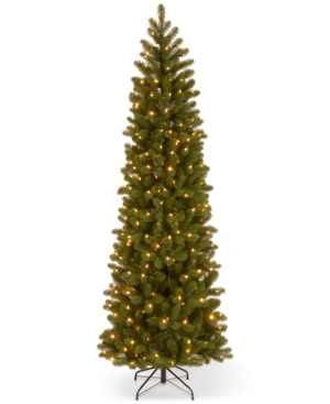National Tree Company 75 Feel Real Down Swept Douglas Fir Pencil Slim Hinged Christmas Tree with 350 Clear Lights