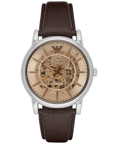 Emporio Armani Men's Automatic Luigi Brown Leather Strap Watch 43mm AR1982