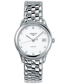 Longines Men's Swiss Automatic Flagship Diamond Accent Stainless Steel Bracelet Watch L47744276