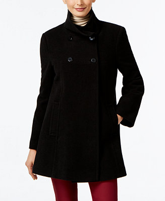Larry Levine Double Breasted Babydoll Swing Coat Coats