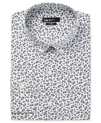 Bar III Men's Slim-Fit Navy Sketch Floral-Print Dress Shirt ...