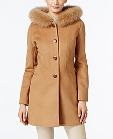 Fox-Fur-Trim Hooded Walker Coat, Created for Macy's