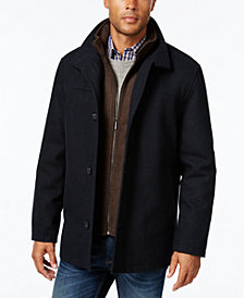 London Fog Big & Tall Wool Blend Stand-Collar Bib Car Coat
