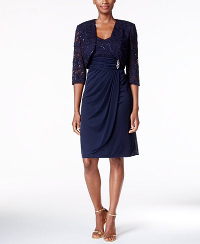 R Amp M Richards Sequined Lace Faux Wrap Dress And Bolero