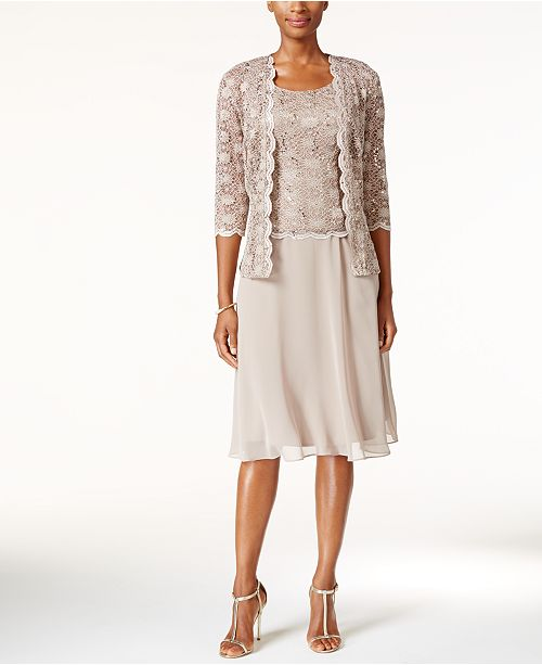 R & M Richards R&M Richards Sequined Lace Chiffon Dress and Jacket