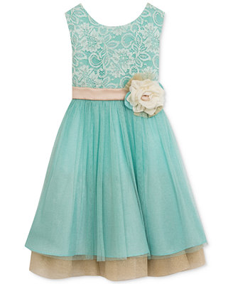 Rare Editions Mint Lace & Champagne Party Dress Toddler