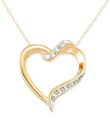 Signature Diamonds™ Heart Pendant Necklace in 14k Gold over Resin Core Diamond and Crystallized Diamond Dust
