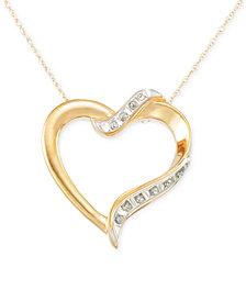 Signature Diamonds™ Heart Pendant Necklace in 14k Gold over Resin Core Diamond and Crystallized Diamond Dust
