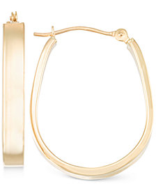 Polished Pear-Shape Hoop Earrings in 10k Gold