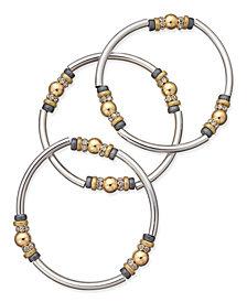 Nine West Tri-Tone 3-Pc. Set Metal Bangle Decorated Stretch Bracelets
