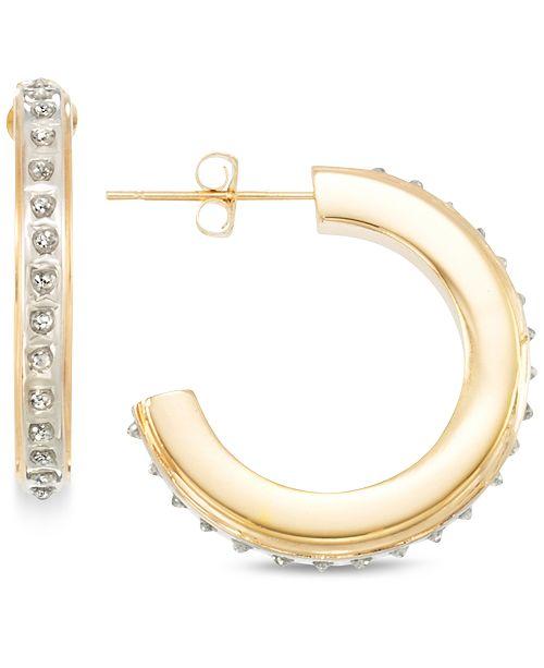 Signature Diamonds Small J-Hoop Earrings in 14k Gold over Resin Core Diamond and Crystallized Diamond Dust