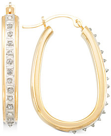 Signature Diamonds™ Pear-Shape Hoop Earrings in 14k Gold over Resin Core Diamond and Crystallized Diamond Dust