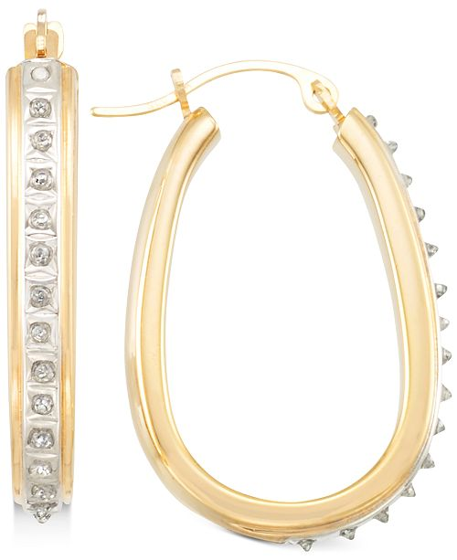Signature Diamonds Pear-Shape Hoop Earrings in 14k Gold over Resin Core Diamond and Crystallized Diamond Dust