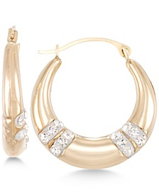 Crystal Embellished Hoop Earrings in 10k Gold