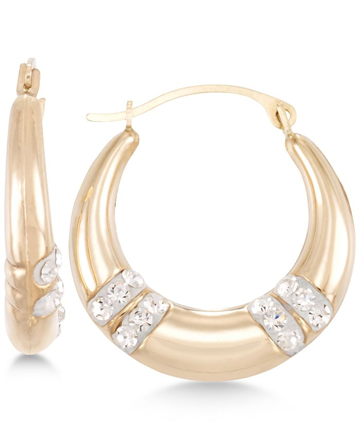 Macy's - Crystal Embellished Hoop Earrings in 10k Gold