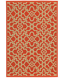 "Tommy Bahama Home Seaside Indoor/Outdoor 3361R Orange 3' 7"" x 5' 6"" Area Rug"