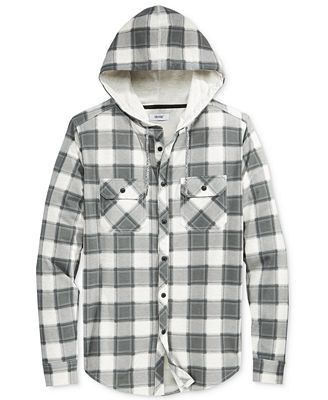 Univibe Men's Button Front Hoodie Plaid Shirt