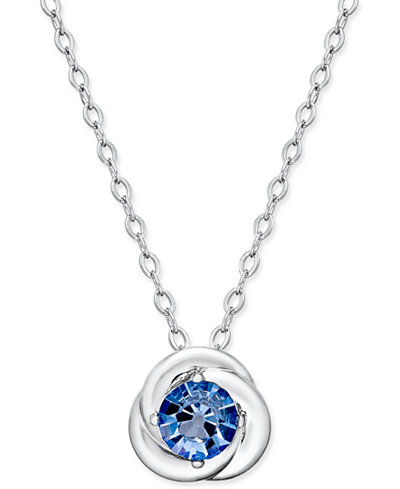 Danori Silver-Tone Blue Crystal Pendant Necklace, Only at
