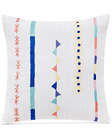 "CLOSEOUT! bluebellgray Kalkan Indori Embroidered 16"" Square Decorative Pillow"