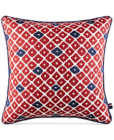 "CLOSEOUT! Tommy Hilfiger Ellis Island Diamond 18"" Square Decorative Pillow"