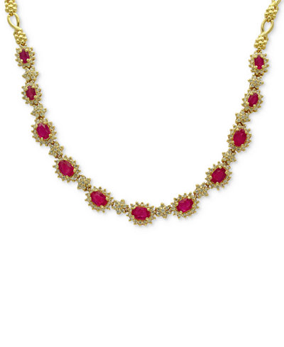 Amoré by EFFY® Certified Ruby (5-1/4 ct. t.w.) & Diamond (2 ct. t.w.) Collar Necklace in 14k Gold, Created for Macy's