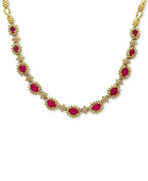 EFFY Collection Amoré by EFFY® Certified Ruby (5-1/4 ct. t.w.) & Diamond (2 ct. t.w.) Collar Necklace in 14k Gold, Created for Macy's