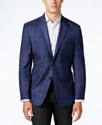 Lauren Ralph Lauren Men's Classic-Fit Blue Windowpane Sport Coat ...