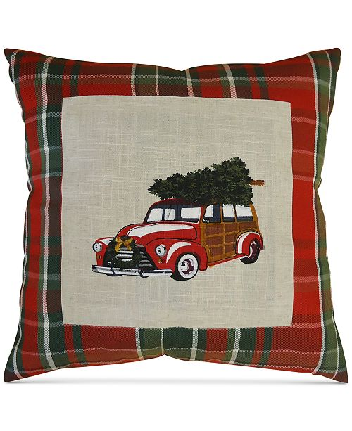"""Homewear CLOSEOUT! Woody Wagon 20"""" Square Decorative Pillow, Created for Macy's"""