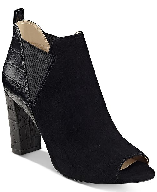 cee13c36146c Marc Fisher Sayla Block-Heel Peep-Toe Booties   Reviews - Boots ...