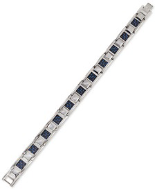 Esquire Men's Jewelry Link Bracelet in Blue Carbon Fiber, Stainless Steel and Tungsten, Created for Macy's