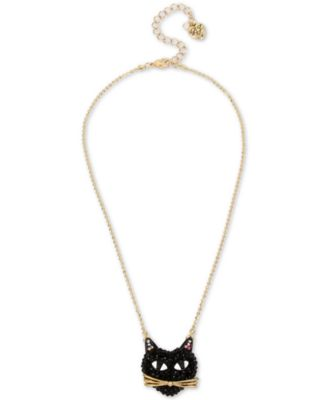 Two-Tone Black Cat Pavé Pendant Necklace