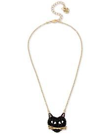 Betsey Johnson Two-Tone Black Cat Pavé Pendant Necklace