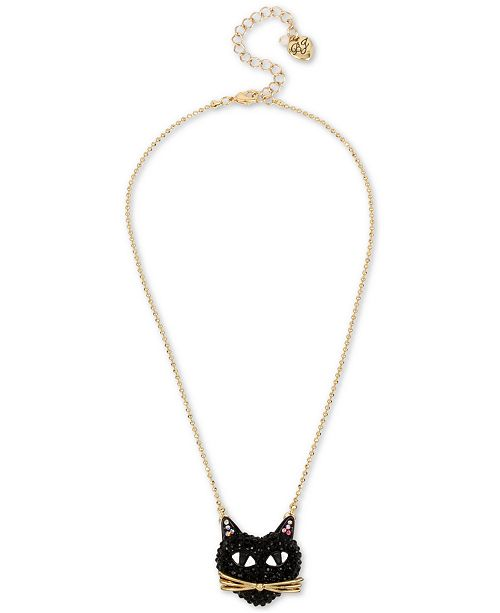 Betsey Johnson Two-Tone Black Cat Pavé Pendant Necklace