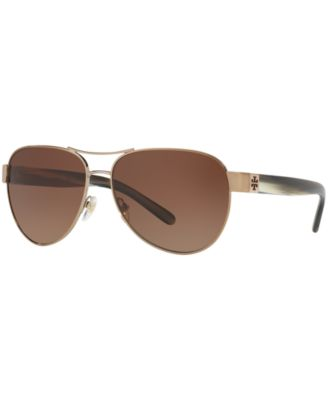 New Tory Burch TY 6051 3198T5 Lt Gold//Olive Horn  Sunglasses
