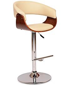 Paris Swivel Barstool In Cream PU/ Walnut Veneer and Chrome Base