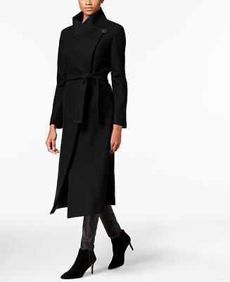 Kenneth Cole Wool Blend Maxi Wrap Coat Coats Women