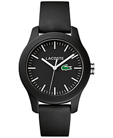 Lacoste Women's 12.12 Black Rubber Strap Watch 38mm 2000956